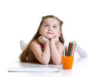 Dreamy child girl with pencils Stock Image