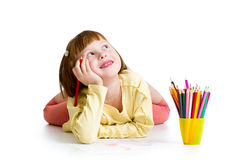 Dreamy child girl with pencils Royalty Free Stock Images