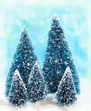 Dreamy christmas trees Stock Images
