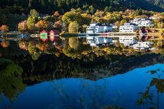 Landscape with Colourful and Tranquil Autumn at Gamlehaugen stock images
