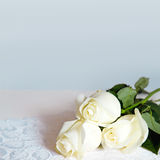 Dreamy and Creamy Bouquet White Roses -Blended blue gray Background Royalty Free Stock Photos