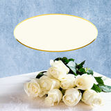 Dreamy and Creamy Bouquet White Roses - Blue Background Stock Photography
