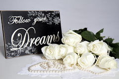 Dreamy and Creamy Bouquet White Roses - Follow Your Dreams Royalty Free Stock Photos