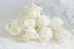 Dreamy and Creamy Bouquet White Roses - sparkle netting Stock Photography