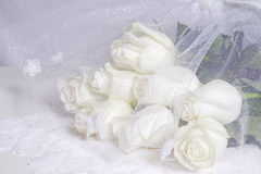 Dreamy and Creamy Bouquet White Roses - Sparkle netting Stock Images