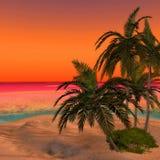 Dreamy Desert Island 2. Where holiday feelings come up! A wounderful Sunset Beach Scene Stock Photos