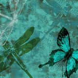 Dreamy Dragonfly Garden Grunge. Wallpaper Background Royalty Free Stock Images