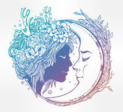 Dreamy elf fairy with a moon illustration. Stock Image