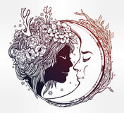 Dreamy elf fairy with a moon illustration. Stock Images