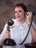 Dreamy Eyed Girl Talking on Phone Royalty Free Stock Photos