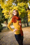 Dreamy fall fashion girl in colorful clothes. Half length portrait of dreamy fall fashion girl in colorful clothes Royalty Free Stock Images