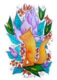 Dreamy fire fox on the background of flowers stock illustration
