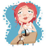 Dreamy girl. Cartoon dreamy girl be absent-minded Royalty Free Stock Photos