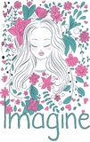 Dreamy girl and fantasy flowers vector illustration