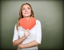 Dreamy girl in love stock image