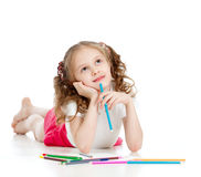 Dreamy girl with pencils Royalty Free Stock Images