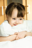 Dreamy girl with a pillow Royalty Free Stock Image
