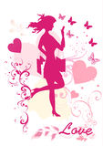 Dreamy girl  vector silhouette Stock Images