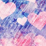 Dreamy hearts on snowfall and stars backgrounds. Dreamy hearts on snowfall and stars background Royalty Free Stock Images