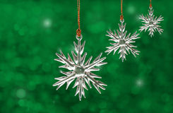 Dreamy image of glass snowflake Christmas ornament Royalty Free Stock Images