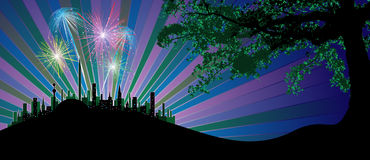 Dreamy landscape. Far urban firework in detail worked out Stock Images