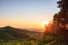 Dreamy Landscape. Beautiful Landscape View on the Giechburg castle in Summer against the setting sun, shot in Bavaria, Germany Royalty Free Stock Image