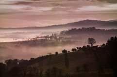 Dreamy landscape with fog Royalty Free Stock Images