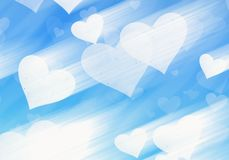 Dreamy light hearts on blue backgrounds Stock Images