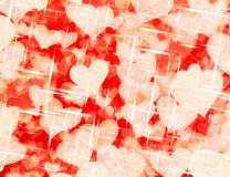 Dreamy light hearts on red backgrounds Stock Image