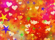 Dreamy light hearts and stars backgrounds. Dreamy light hearts and stars background Royalty Free Stock Photography