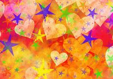 Dreamy light hearts and stars backgrounds. Dreamy light hearts and stars background Stock Photos