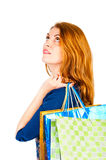 Dreamy look beautiful girl shopaholic Royalty Free Stock Photo