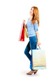 Dreamy look shopaholic girls Stock Image