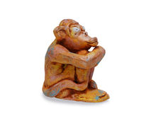 Dreamy monkey  from clay pottery isolated on white Royalty Free Stock Photography