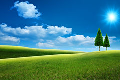 Dreamy natural landscape with green hills Stock Photography