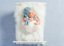 Dreamy newborn boy holding toy sleeps. On little bed covered with white fluffy blanket Royalty Free Stock Photography