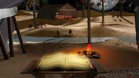 Dreamy night desert with the holdy Quran. Camels, full moon, fire and Arabian tent Royalty Free Stock Photography