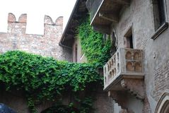 The dreamy outlook of Juliet`s Balcony, Verona, Italy stock photos