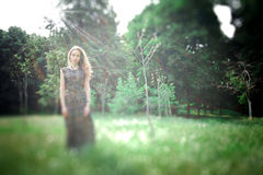 Dreamy photo of yong pretty woman stock photography