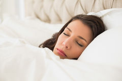 Dreamy pretty brown haired woman sleeping in her bed Royalty Free Stock Photos