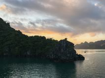 Dreamy rocks in Halong Bay on the sunrise, Vietnam stock photography