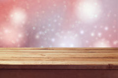 Dreamy romantic background with empty wooden table Stock Photos