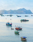 Dreamy seascape with authentic colourful boats Stock Photos