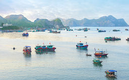 Dreamy seascape with authentic colourful boats Royalty Free Stock Photos