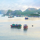 Dreamy seascape with authentic colourful boats Stock Photography