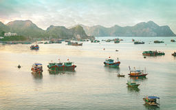 Dreamy seascape with authentic colourful boats Royalty Free Stock Images