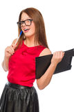 Dreamy secretary with a folder in hands Stock Image