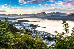 Mountain Landscape with Aerial View of Eastern Side of Alesund, Bay and Mountains in The Morning Sunshine stock photos