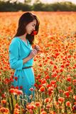Beautiful girl smelling a red poppy flower in field. Dreamy smiling beautiful young woman smelling a red poppy in flower field in summer stock photo