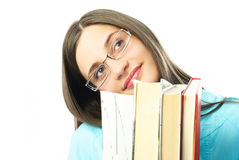 Dreamy student with books Stock Photo